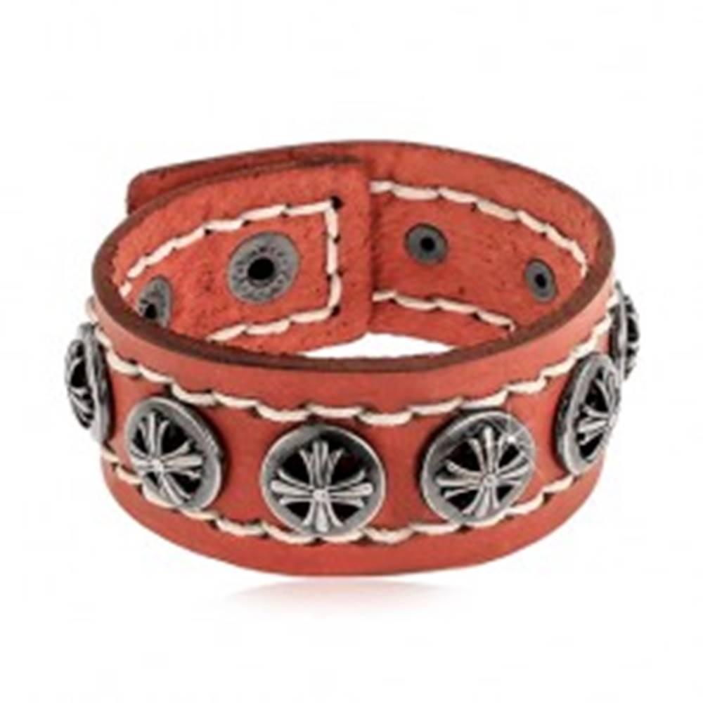 Šperky eshop Náramok z pásu syntetickej kože škoricovej farby, okrúhle vybíjané nity s krížmi
