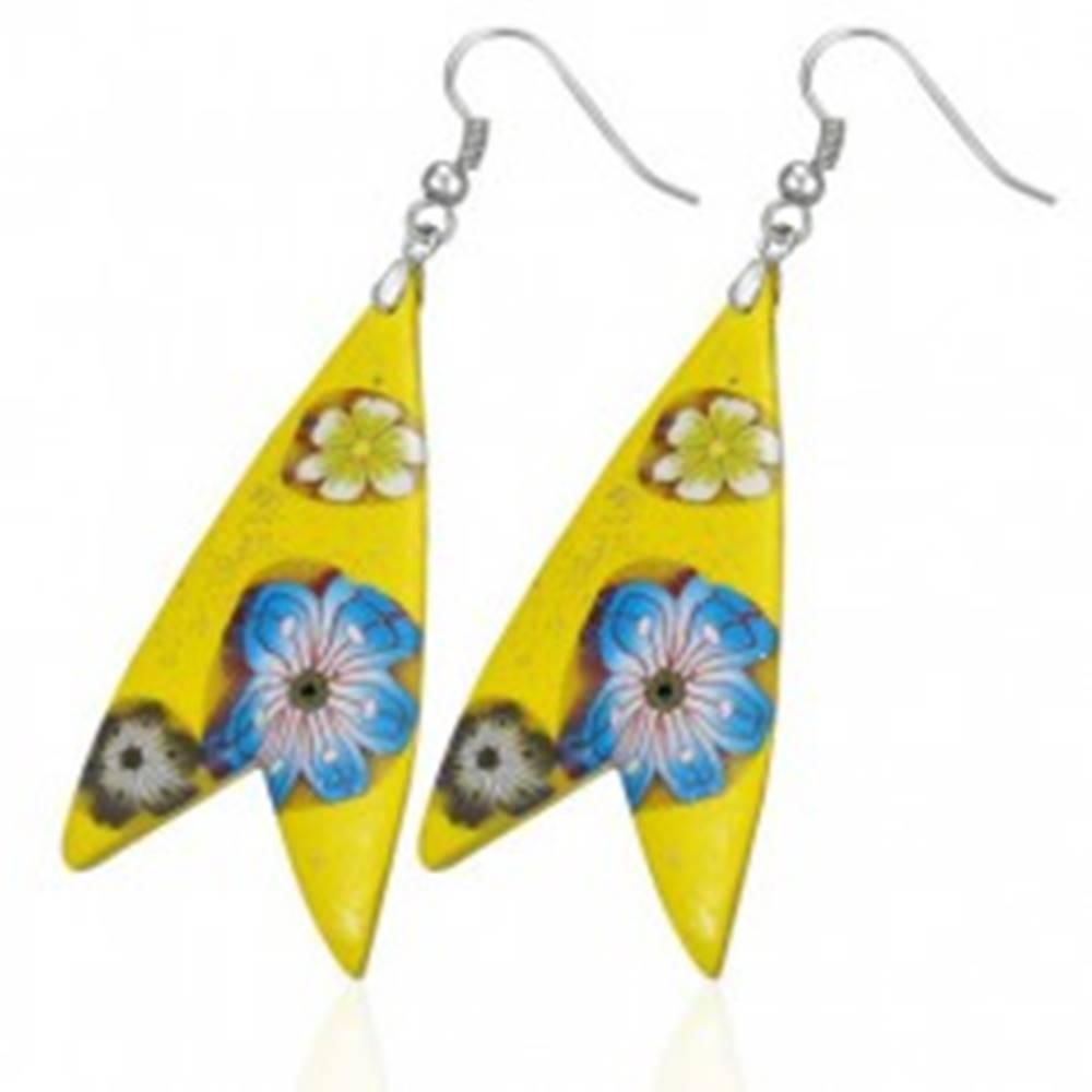 Šperky eshop Náušnice Fimo - žltý trojuholník, tvar rybka, kvietky