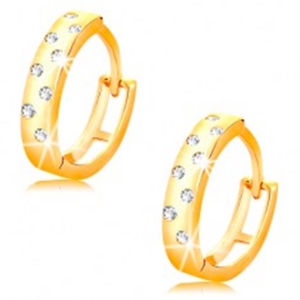 Šperky eshop Náušnice v žltom 14K zlate - lesklé krúžky posiate čírymi zirkónikmi