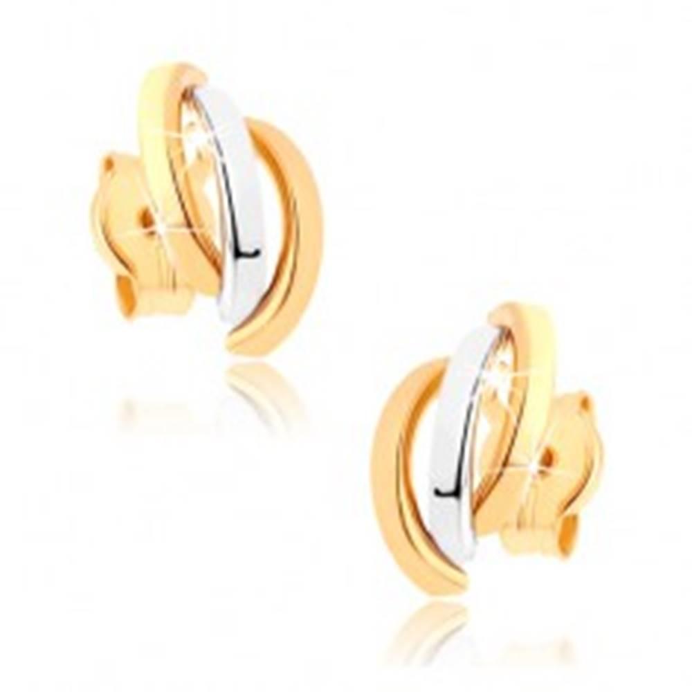 Šperky eshop Náušnice z 9K zlata - tri zahnuté línie v dvojfarebnom prevedení