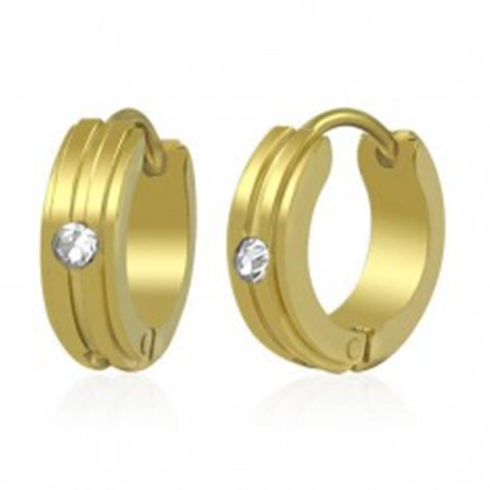 Šperky eshop Náušnice z chirurgickej ocele zlatej farby, vystupujúce pásiky, číry zirkón