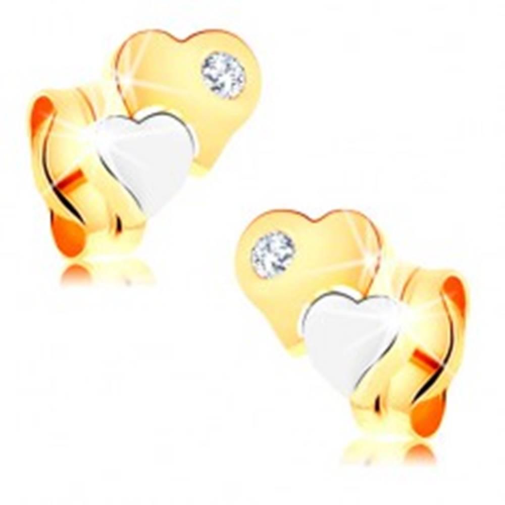 Šperky eshop Náušnice zo 14K zlata - dvojfarebné lesklé srdiečka s čírym diamantom