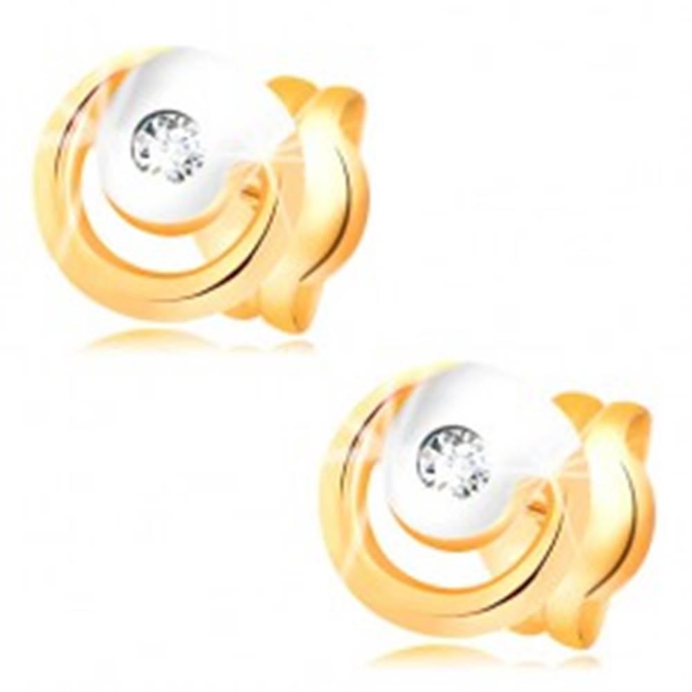 Šperky eshop Náušnice zo 14K zlata - žiarivý číry diamant v dvojfarebnej obruči