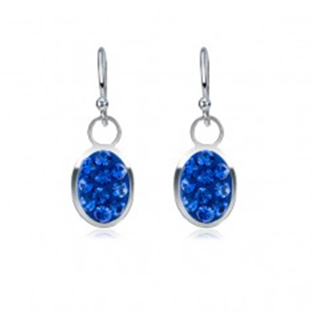 Šperky eshop Náušnice zo striebra 925 - zafírovo modrý ovál, zirkóny, malé