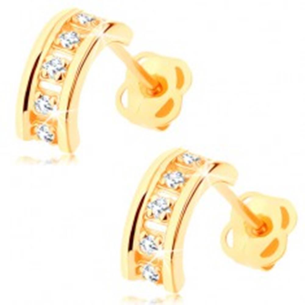 Šperky eshop Náušnice zo žltého 14K zlata - polkruhy zdobené čírymi zirkónmi, puzetky