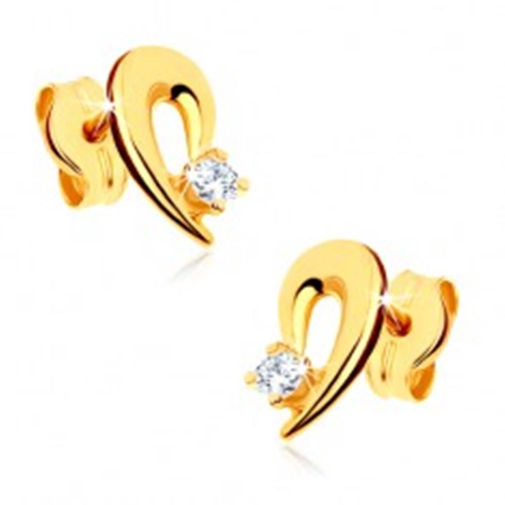 Šperky eshop Náušnice zo žltého 9K zlata - obrys polovice srdca zdobený čírym kamienkom