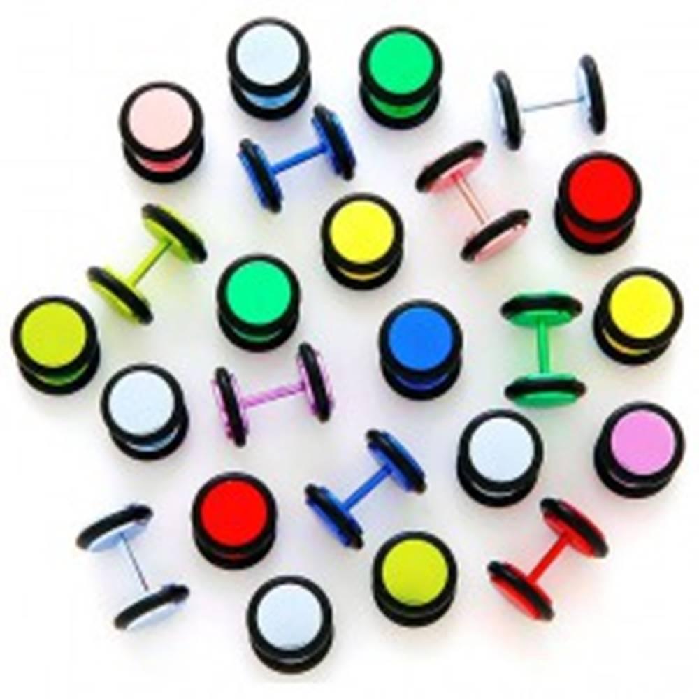 Šperky eshop Neónový falošný plug anodizovaný s gumičkami - Farba piercing: Červená