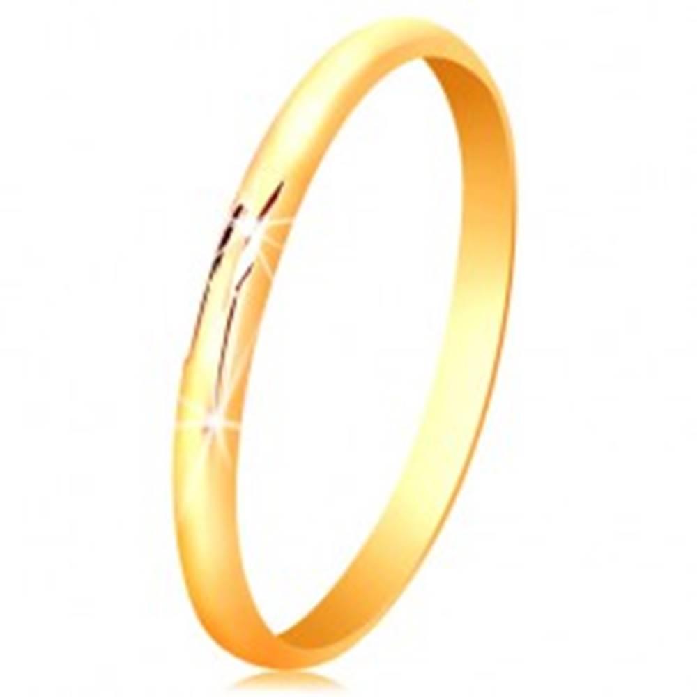 Šperky eshop Obrúčka v žltom 14K zlate, hladký, lesklý a mierne vypuklý povrch - Veľkosť: 50 mm