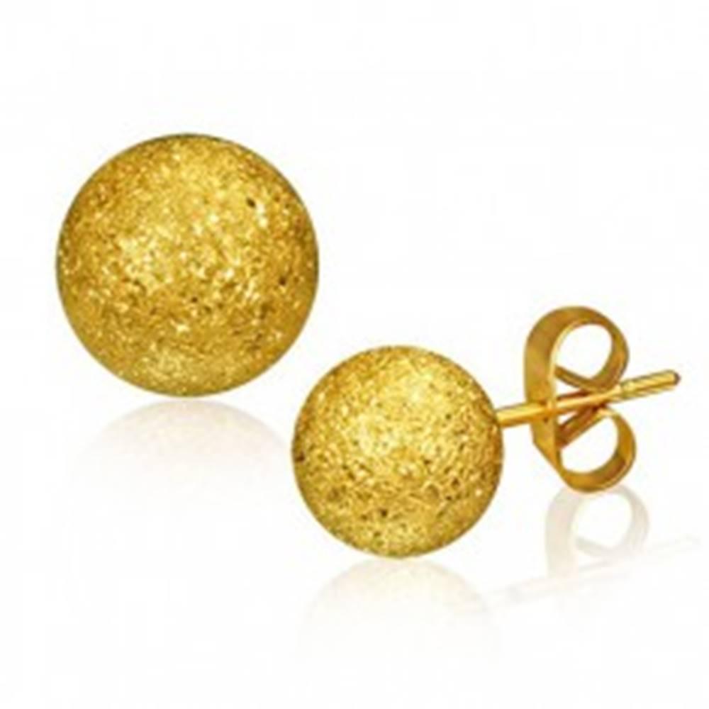 Šperky eshop Oceľové náušnice, gulička zlatej farby s pieskovaným povrchom, 6 mm