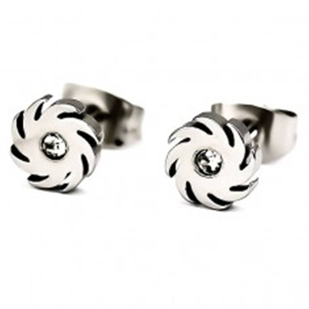 Šperky eshop Oceľové náušnice - kotúč, širšie zúbky, zirkón čírej farby v strede