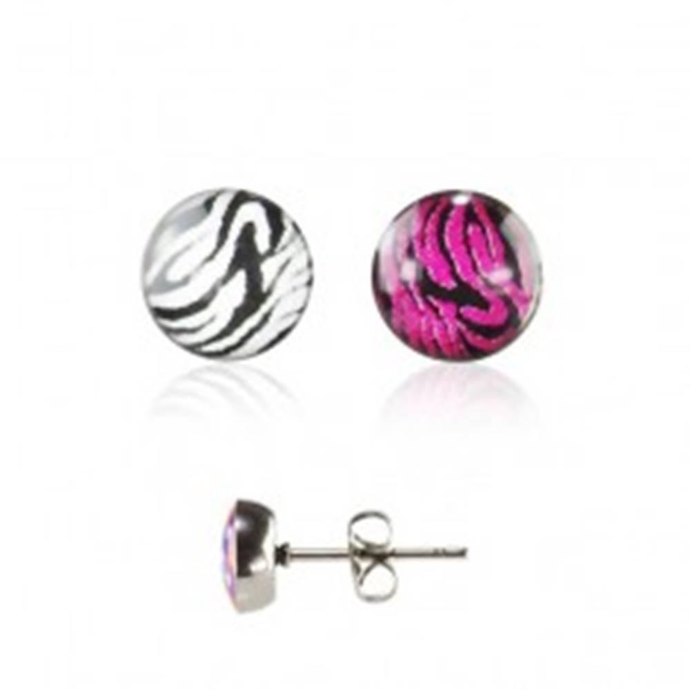 Šperky eshop Oceľové náušnice striebornej farby, zebrovaný vzor, číra glazúra, puzetka - Farba: Bielo - Čierna