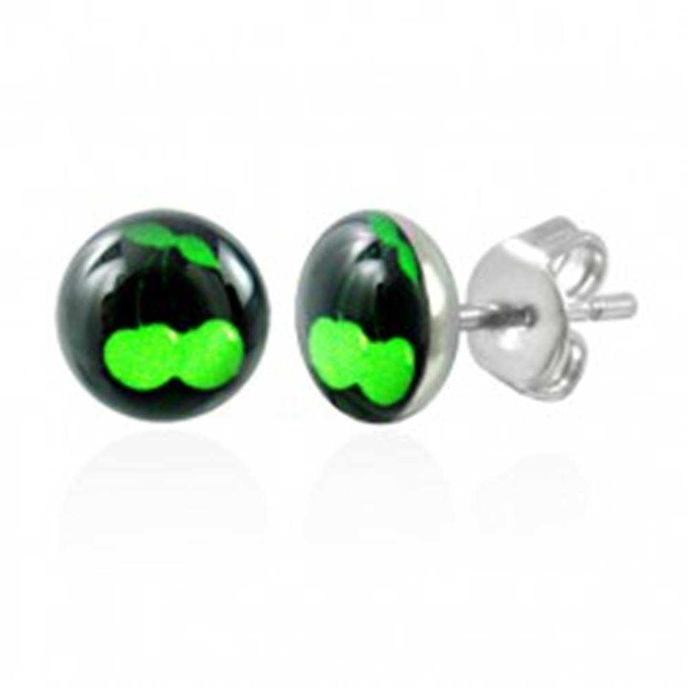 Šperky eshop Oceľové náušnice - zelené čerešničky na čiernom podklade