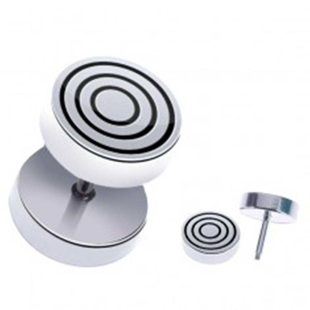 Šperky eshop Oceľový fake piercing do ucha - okrúhly s čiernymi kruhmi