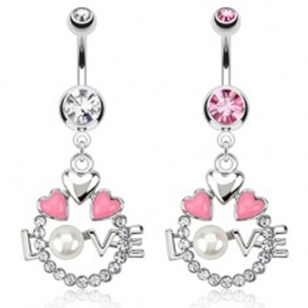 Šperky eshop Oceľový piercing do pupku - kruh, srdcia, nápis LOVE s perlou - Farba zirkónu: Číra - C