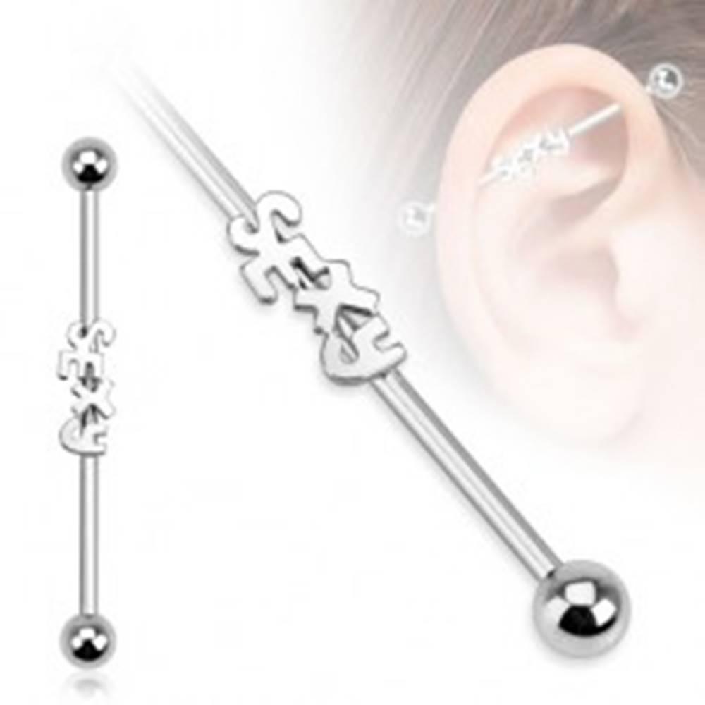 Šperky eshop Oceľový piercing do ucha - činka s nápisom SEXY a guľôčkami