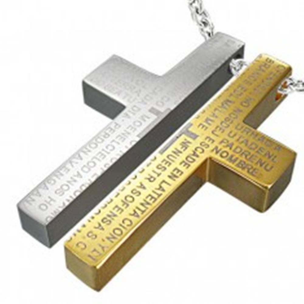 Šperky eshop Oceľový prívesok pre dvoch - kríž, modlitba