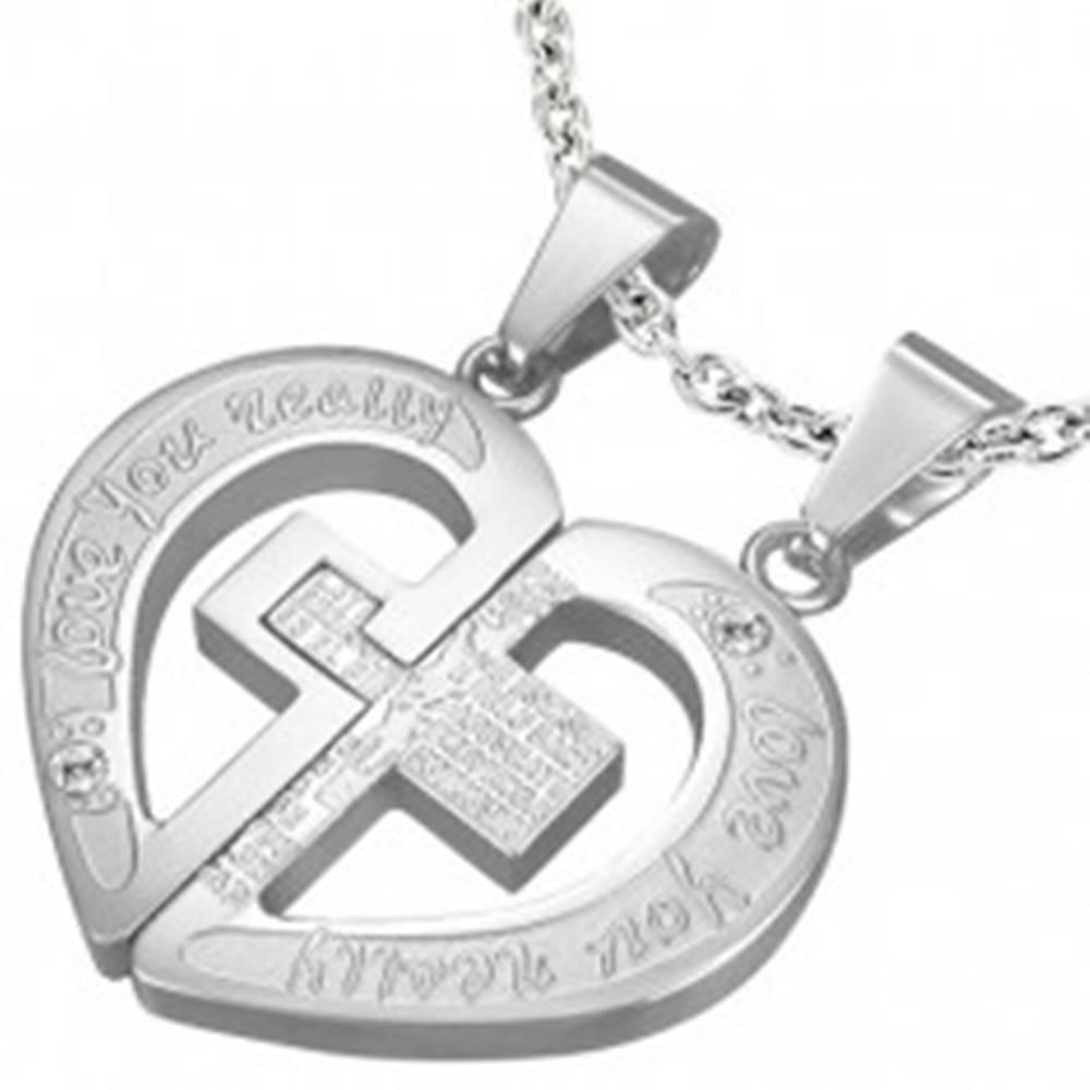 Šperky eshop Oceľový prívesok pre zamilovanú dvojicu - modlitba, krížik, srdce