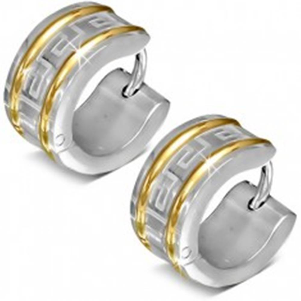 Šperky eshop Okrúhle náušnice z chirurgickej ocele, dve línie zlatej farby, grécky kľúč