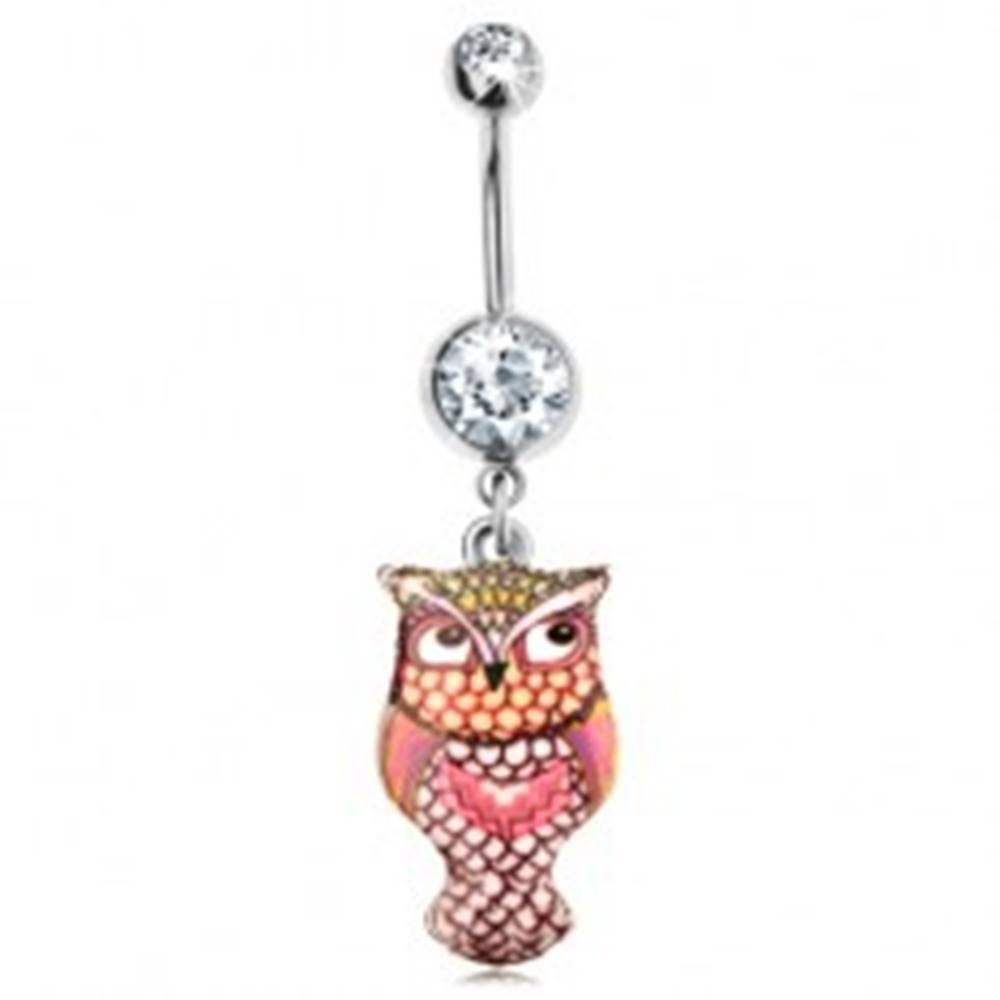 Šperky eshop Piercing do brucha z ocele 316L, farebná sovička, hladký vypuklý povrch