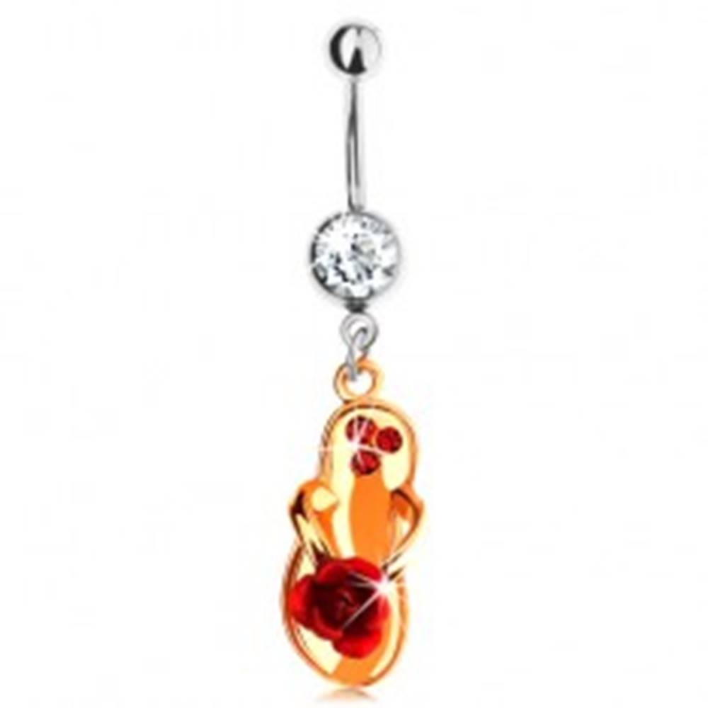 Šperky eshop Piercing do brucha z ocele 316L, topánka zlatej farby, červená ruža, zirkóny