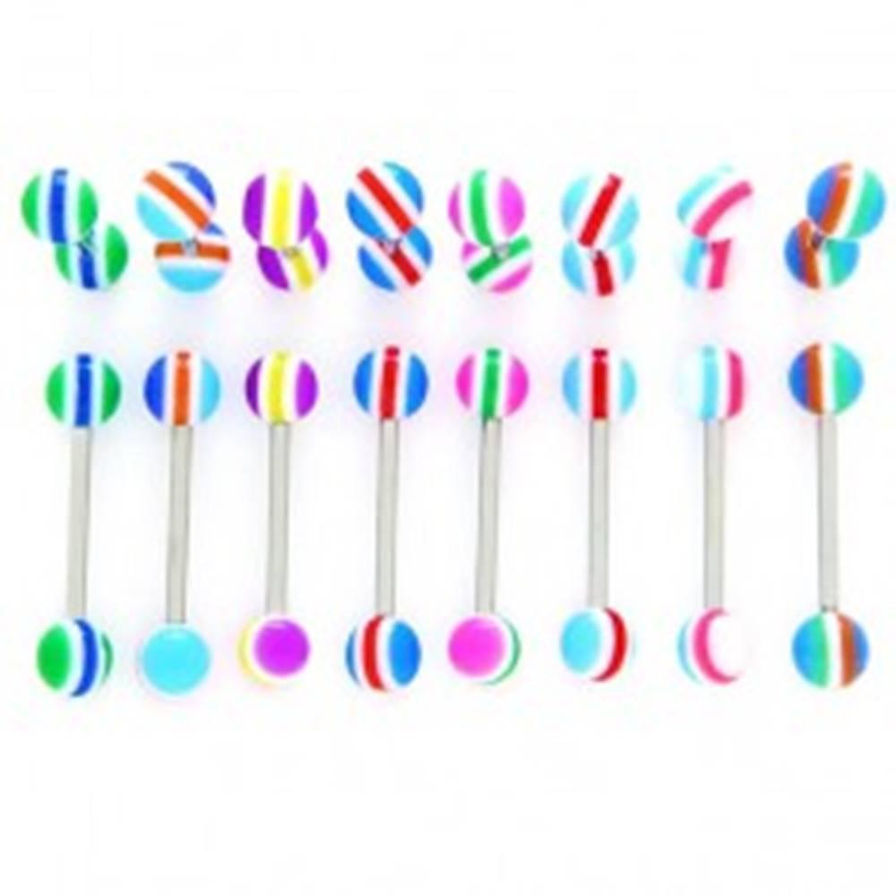 Šperky eshop Piercing do jazyka - farebné polkruhy, čiarky - Farba piercing: Fialová-Žltá