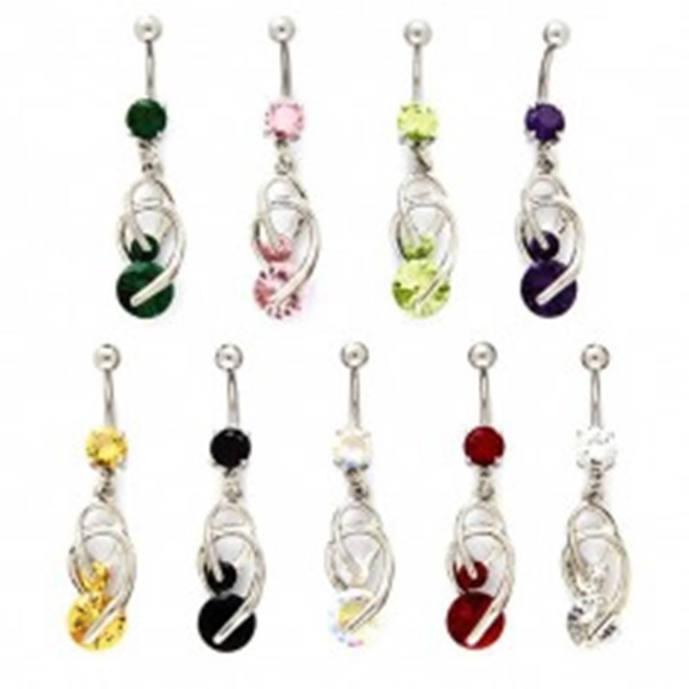 Šperky eshop Piercing do pupku - podkovičky, farebné zirkóny - Farba zirkónu: Červená - R