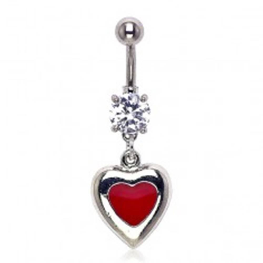 Šperky eshop Piercing do pupku - vášnivé srdiečko so zirkónom