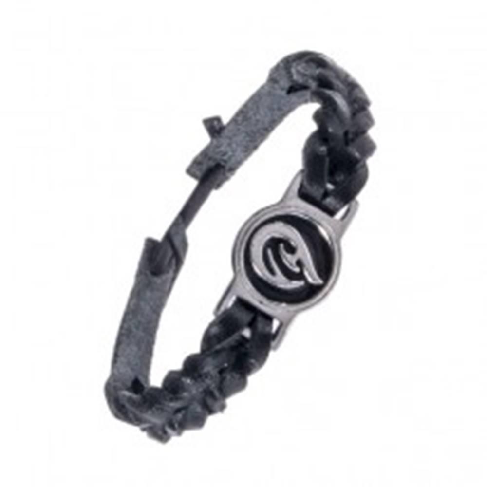 Šperky eshop Pletený čierny náramok - kožený, tribal ornament