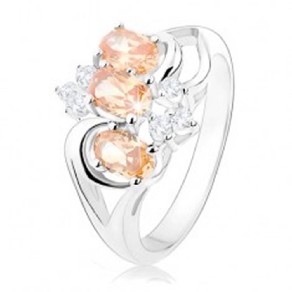 Šperky eshop Prsteň s rozdelenými ramenami, oranžové zirkónové ovály, číre zirkóny - Veľkosť: 56 mm