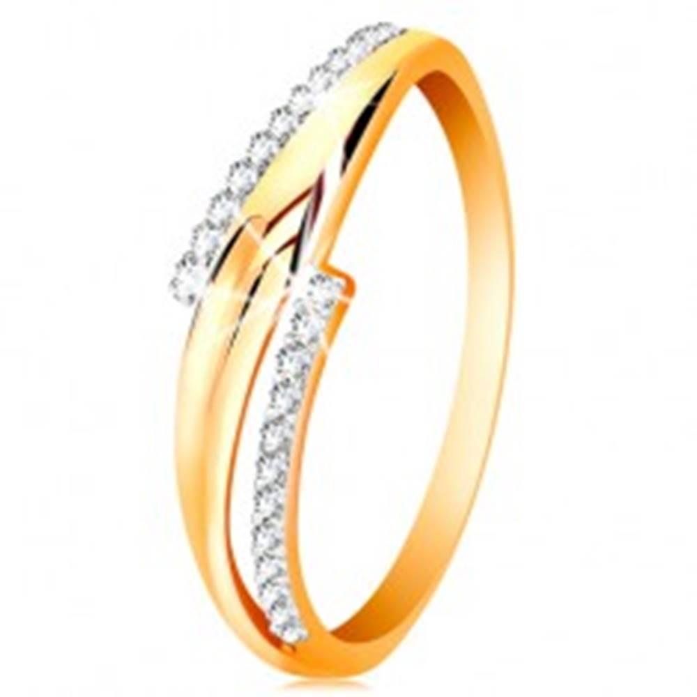 Šperky eshop Prsteň zo 14K zlata, zvlnené dvojfarebné ramená, číre zirkónové línie - Veľkosť: 50 mm