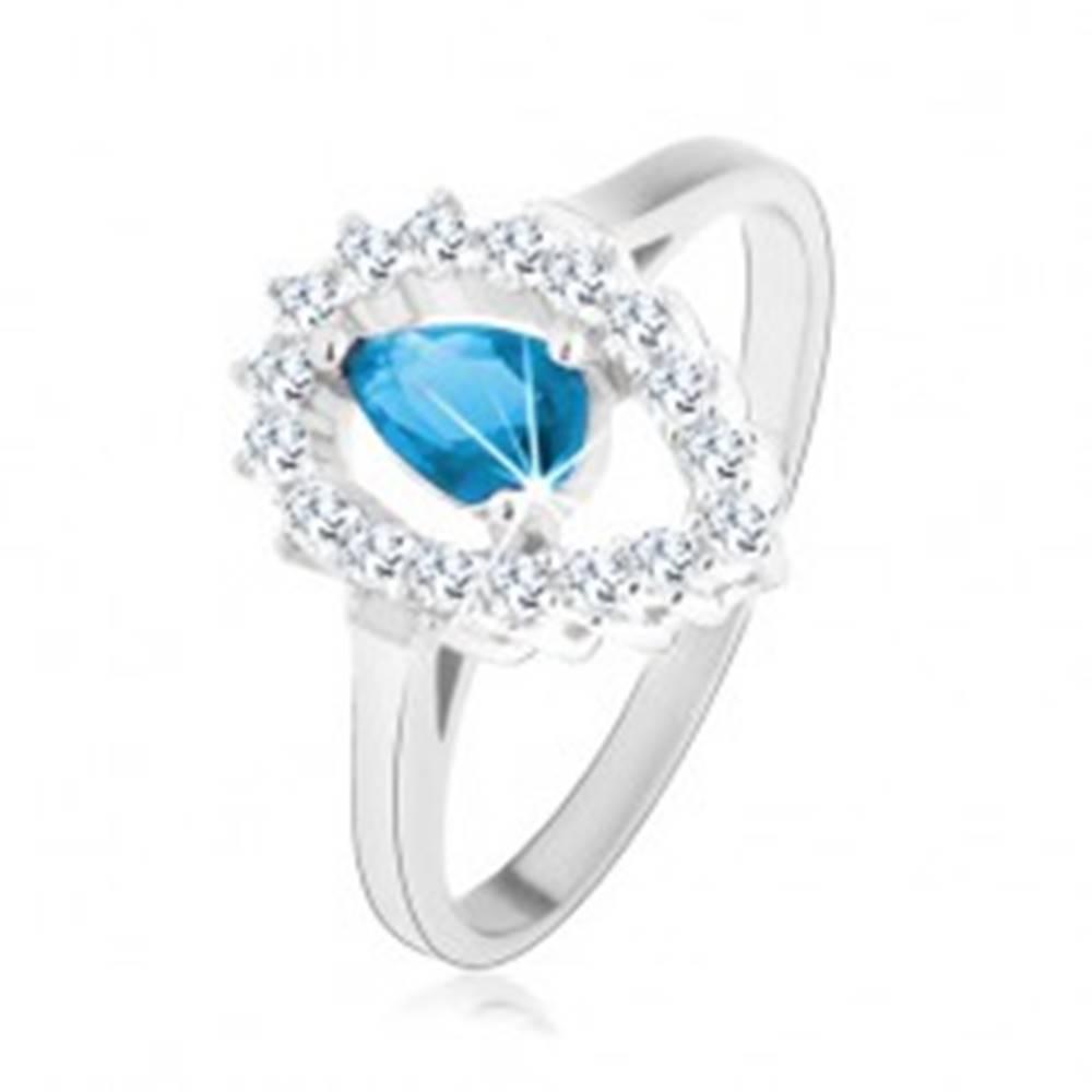 Šperky eshop Prsteň zo striebra 925, číra kontúra obrátenej kvapky s akvamarínovým zirkónom - Veľkosť: 49 mm