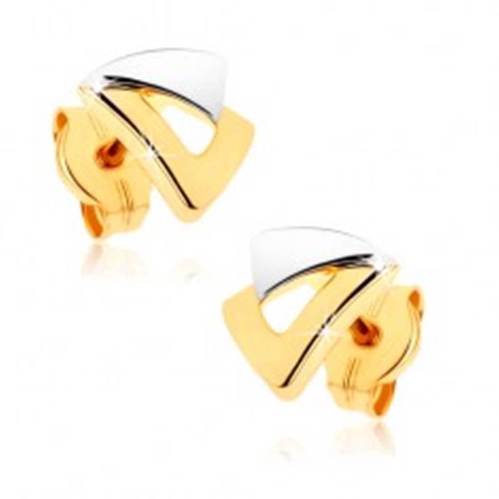 Šperky eshop Puzetové náušnice z 9K zlata - dva trojuholníčky v dvojfarebnom prevedení