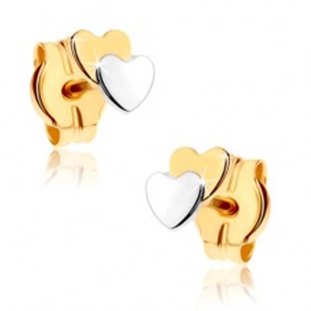 Šperky eshop Puzetové náušnice z 9K zlata - dve malé srdiečka, dvojfarebné