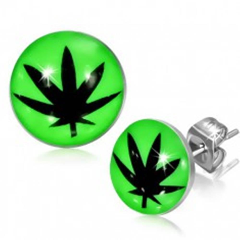 Šperky eshop Puzetové náušnice z ocele, glazúra, čierny lístok marihuany, zelené pozadie