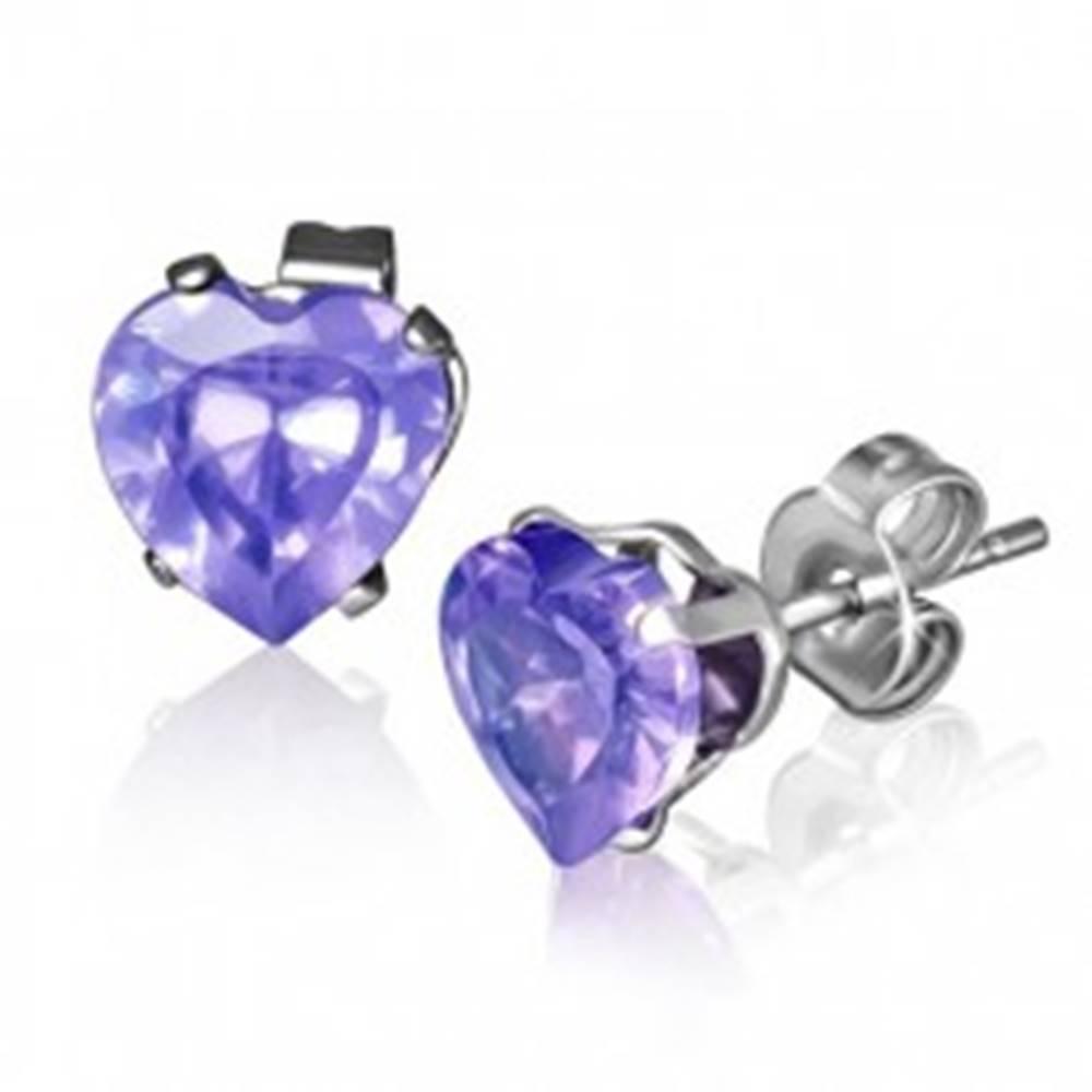 Šperky eshop Puzetové náušnice z ocele striebornej farby, fialové zirkónové srdiečko, 7 mm