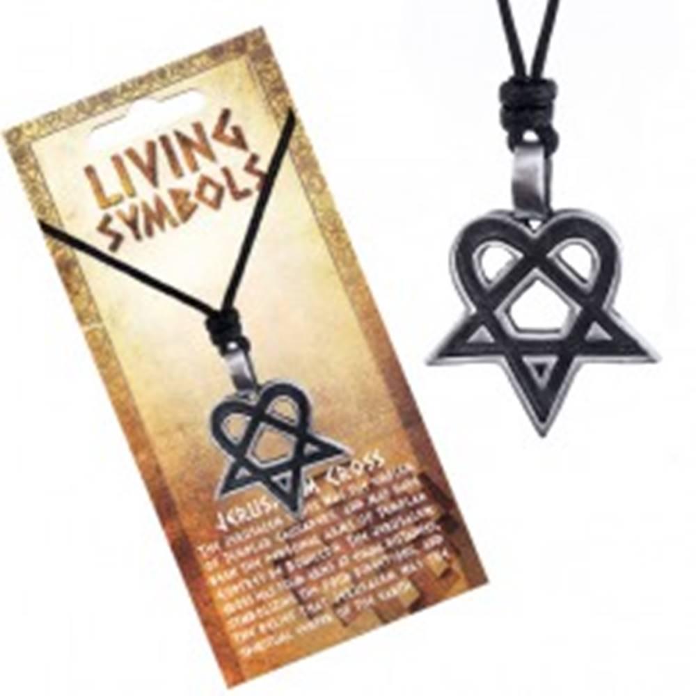 Šperky eshop Šnúrkový náhrdelník - čierny s kovovým srdcovým pentagramom