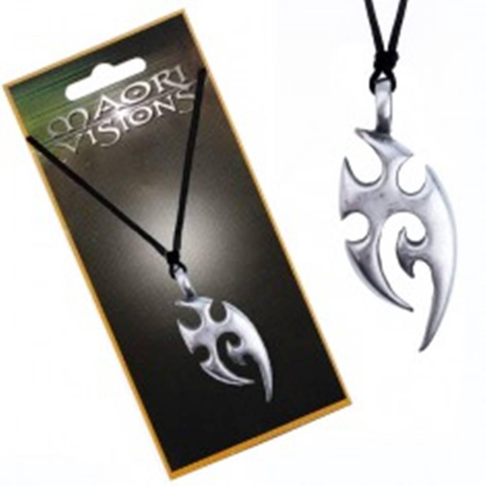 Šperky eshop Šnúrkový náhrdelník - kovový prívesok, domorodý ornament