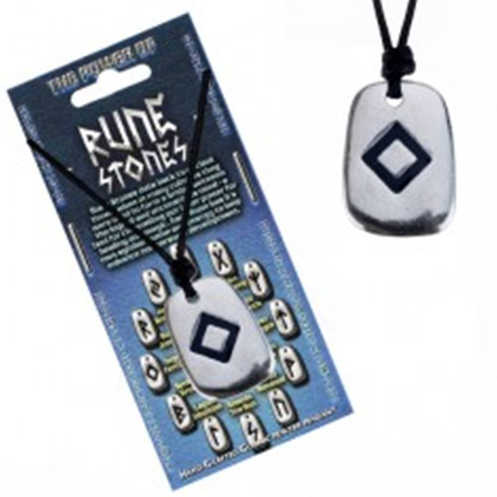 Šperky eshop Šnúrkový náhrdelník - kovový prívesok, tabuľka, runa plodnosti