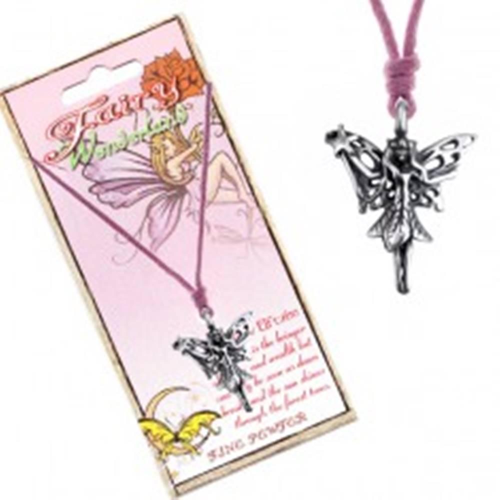 Šperky eshop Šnúrkový náhrdelník - prívesok lesnej víly s čarovnou paličkou