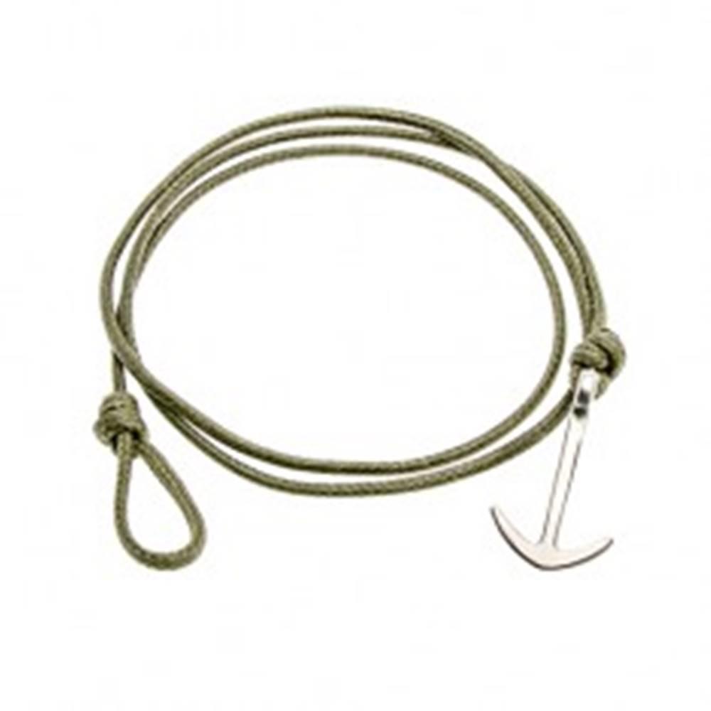 Šperky eshop Šnúrkový náramok na obtočenie okolo ruky, zelený odtieň, lesklá kotva