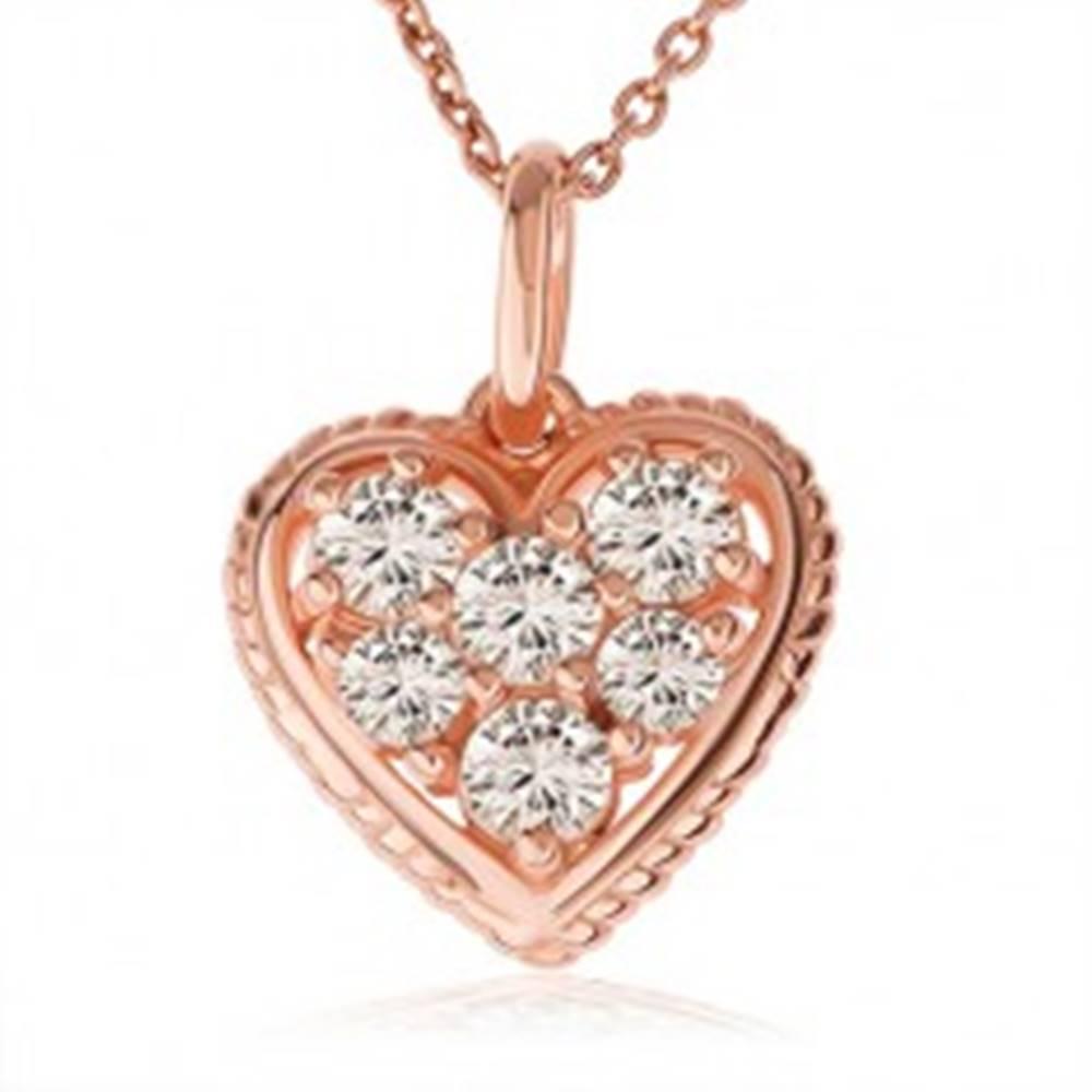 Šperky eshop Strieborný 925 náhrdelník, číre zirkónové srdce s vrúbkovaným lemom, medená farba
