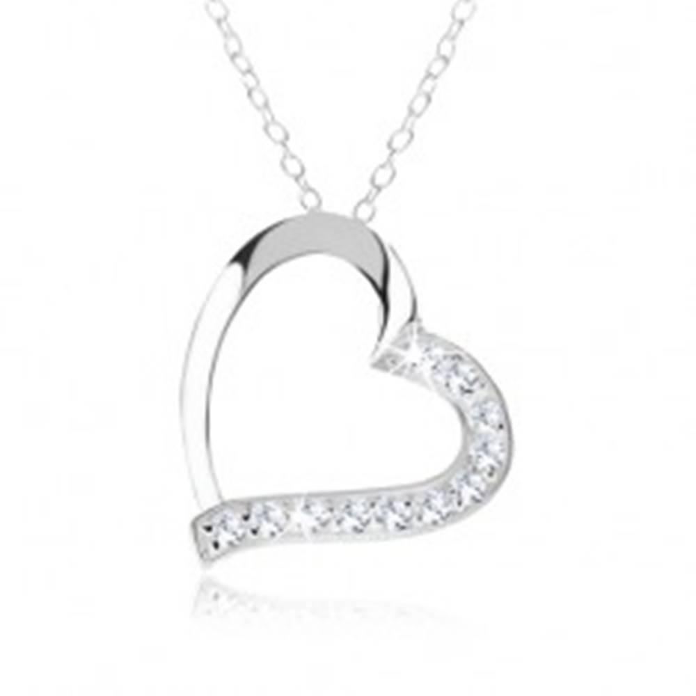 Šperky eshop Strieborný náhrdelník 925, kontúra srdca, číre zirkóny na jednej polovici