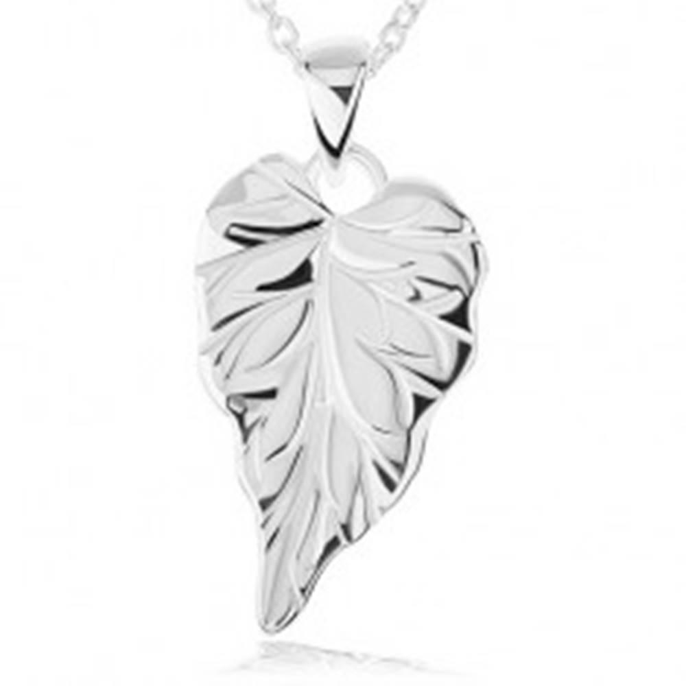 Šperky eshop Strieborný náhrdelník 925 - lesklý gravírovaný list, retiazka