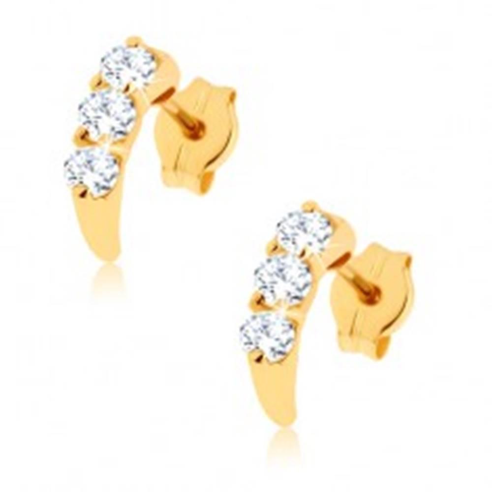Šperky eshop Zlaté náušnice 375 - lesklý oblúk vykladaný kamienkami čírej farby