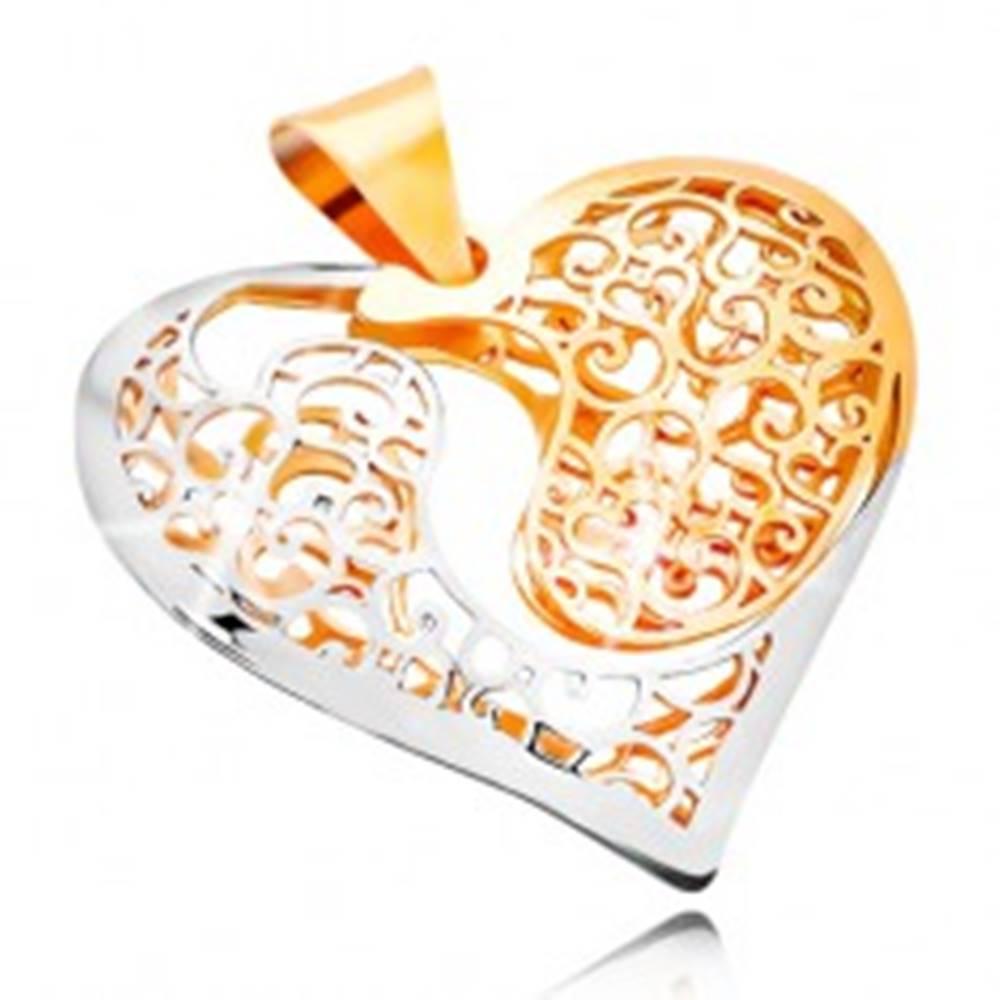 Šperky eshop Zlatý prívesok 585 - dvojfarebné srdce s výrezom a filigránovým zdobením