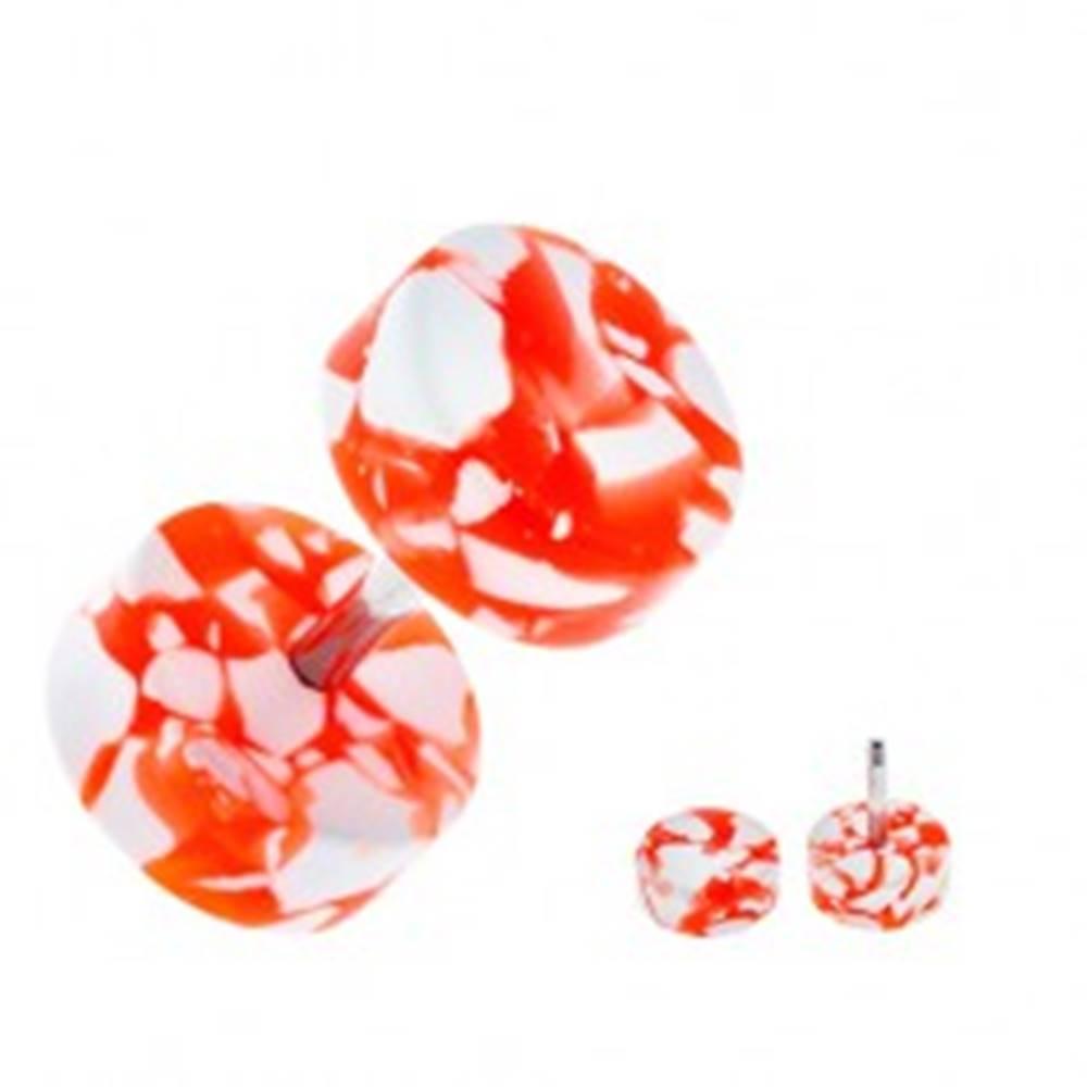 Šperky eshop Akrylový fake plug do ucha - bielo-oranžové kolieska