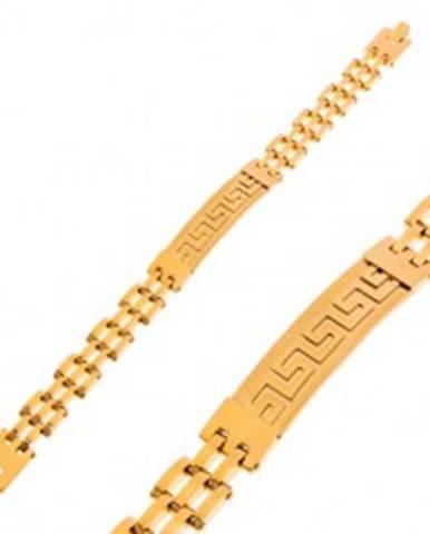 Náramok z chirurgickej ocele zlatej farby, matná známka s gréckym kľúčom Z48.16