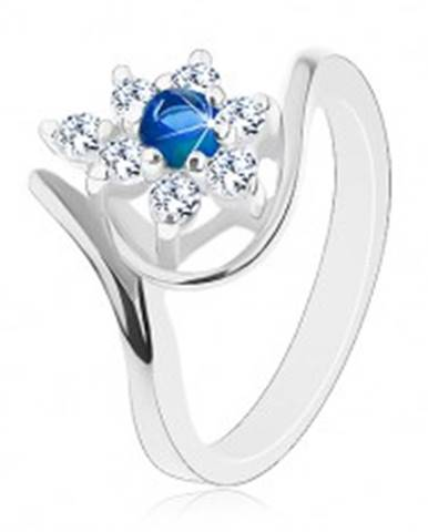 Trblietavý prsteň v striebornom odtieni, tmavomodrý zirkón, číre lupene G07.08 - Veľkosť: 49 mm