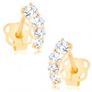 Briliantové zlaté náušnice 585 - trblietavý oblúčik z čírych diamantov