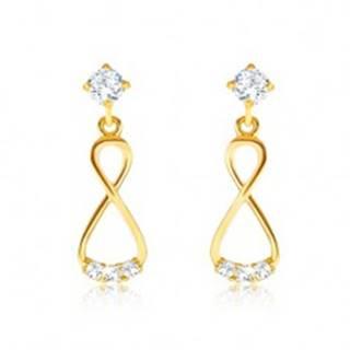 Briliantové zlaté náušnice 585 - visiaca osmička, číre diamanty